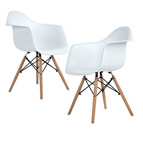 Homeinart Esszimmerstuhl, Retro Stuhl Beistelltisch mit solide Buchenholz Bein