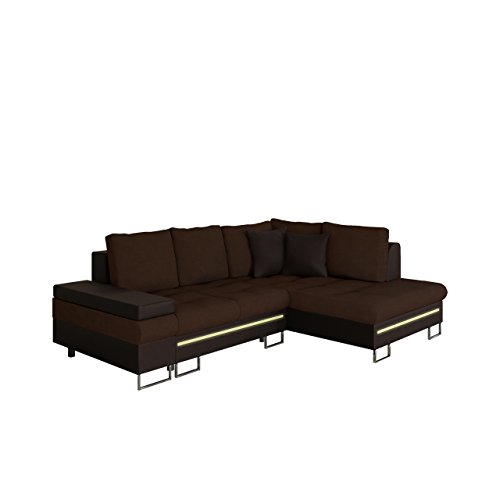 Mirjan24 Ecksofa Rico Bis mit RGB LED-Beleuchtung, Schlaffunktion und Bettkasten, Design U-Form Eckcouch, Sofa vom Hersteller, Wohnlandschaft (Soft 066 + Casablanca 2307 + Soft 066, Ecksofa: Rechts)
