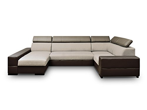 Mirjan24 Großes Ecksofa Trydent, Moderne Polsterecke, Elegante Eckcouch mit Bettkasten und Schlaffunktion, U-Form Couch Couchgarnitur (Ecksofa Links, Cayenne 1113 + Magic 1)