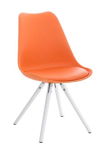 Stuhl Pegleg Rund weiß orange