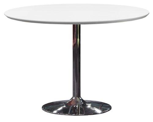 Tenzo 3220-001 Tequila Designer Esstisch, MDF lackiert, matt, Untergestell Metall, verchromt, Höhe: 74.5 cm, Durchmesser: 110 cm, weiß