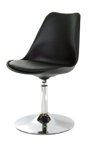 Tenzo 3309-000 Tequila - Designer Esszimmerstuhl, Kunststoffschale mit Sitzkissen in Lederoptik, Untergestell verchromt, 83 x 49 x 53 cm, weiß/Schwarz