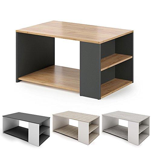 Vicco Couchtisch DARIO - Wohnzimmer Sofatisch Kaffeetisch 3 Farbvarianten Beistelltisch 90 x 60 cm - mit Ablagefächern - Top Design