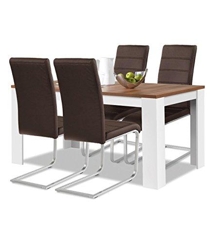 agionda® Esstisch + Stuhlset : 1 x Esstisch Toledo 120 Nussbaum/Weiss + 4 Freischwinger braun
