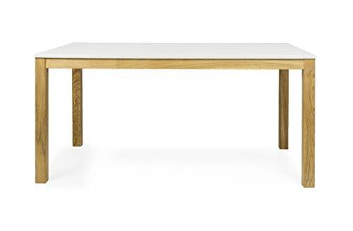tenzo Fresh Designer Esstisch, Holz, weiß/Eiche, 90 x 160 x 75 cm