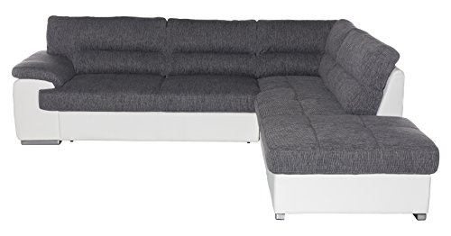 Cotta C783562 C121 D200 Lucky Polsterecke Stoff, grau/weiß, 279 x 232 x 93 cm