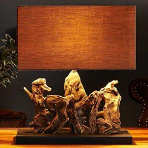 Design Treibholzlampe ARAGON mit rechteckigem braunen Schirm Handarbeit
