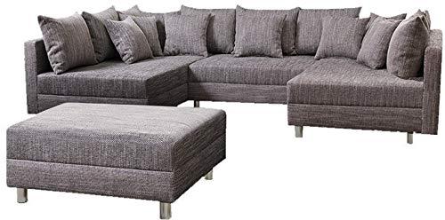 Wohnlandschaft Sofa Couch Ecksofa Eckcouch in Gewebestoff hellgrau Minsk XXL