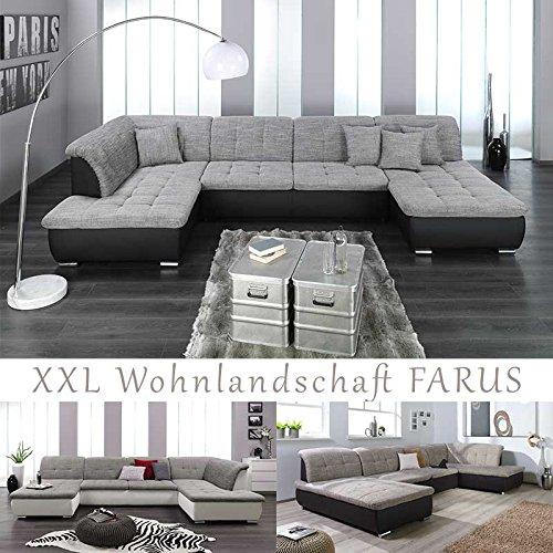 XXL Wohnlandschaft, Couchgarnitur FARUS, U-Form, versch. Farben, Ottomane rechts oder Links