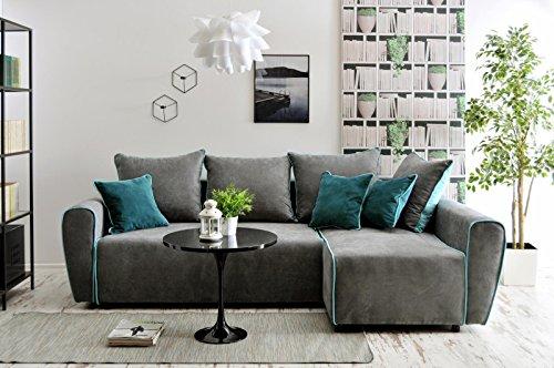mb-moebel Ecksofa Sofa Eckcouch Couch mit Schlaffunktion und Bettkasten Ottomane L-Form Schlafsofa Bettsofa Polstergarnitur Wohnlandschaft - Rico