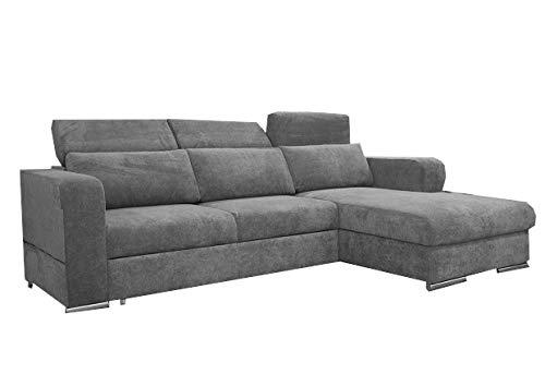 mb-moebel Ecksofa mit Schlaffunktion Eckcouch mit Bettkasten Sofa Couch L-Form Polsterecke Grau Inez