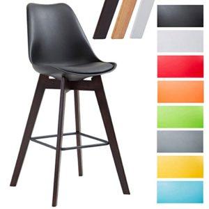 CLP Barhocker METZ Kunststoff I Sitzfläche mit Kunstlederbezug I Thekenhocker mit Einem Gestell aus Eichenholz I Tresenhocker mit Fußstütze