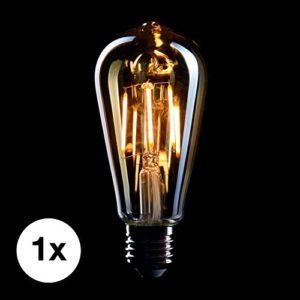 CROWN LED Edison Glühbirne E27 Fassung, Dimmbar, 4W, Warmweiß, 230V, EL01, Antike Filament Beleuchtung im Retro Vintage Look
