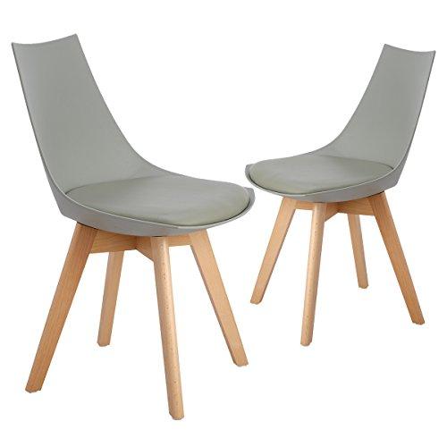 EGGREE 2er Set Esszimmerstühle mit Massivholz Bein, Retro Design Gepolsterter lStuhl Küchenstuhl Holz, Weiß