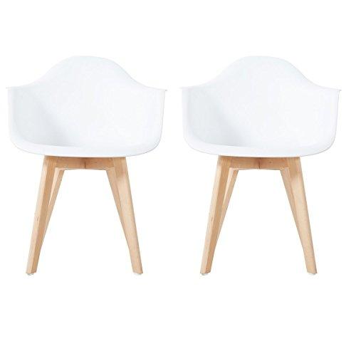 EGGREE Esszimmerstühle Retro Küchenstuhl Skandinavisch mit Armlehne, Sitz aus Kunststoff, Stabile Holzbein, Weiß