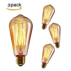 KINGSO 3x E27 40W Edison Lampe Vintage Stil Glühbirne Squirrel Cage Birne Retro Lampe Licht Bulb Antike Beleuchtung dimmbar diy für lampenfassung und Lampe [Energieklasse E]