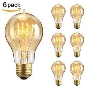 Vintage Glühbirne E27 40W, NUODIFAN 6x Retro Edison Birne Squirrel Cage Stil Filament Lampe Amber Glas Dimmbar Warmweiß