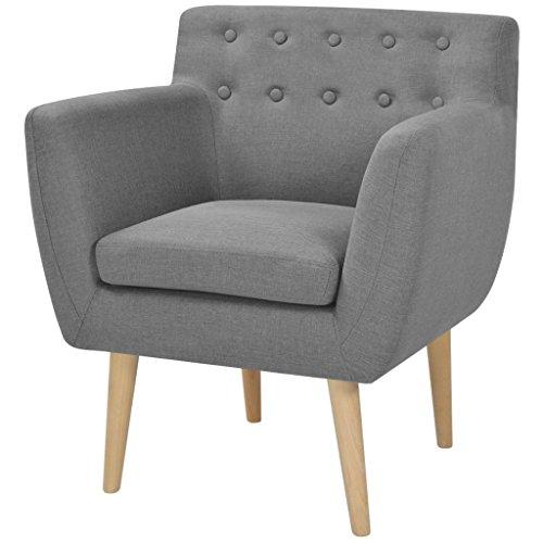 Festnight Armsessel Wohnzimmer Sessel Relaxsessel Polstersessel Holzrahmen Stoffpolsterung 67x59x77cm für Wohnzimmer Schlafzimmer - Hellgrau