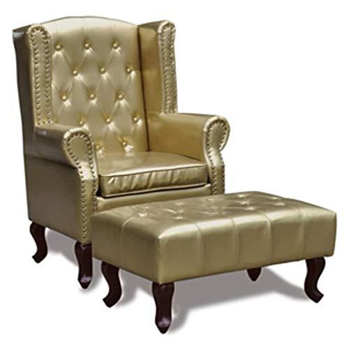 Festnight Chesterfield Ohrensessel mit Hocker Kunstleder Sessel Fernsehsessel Schaumstoff Polsterung Ruhesessel Goldfarbig