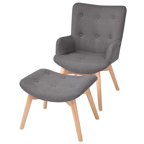 Festnight Gepolsterter Sessel mit Fußhocker Stoff Relaxsessel Polstersessel Wohnzimmersessel mit Armlehne
