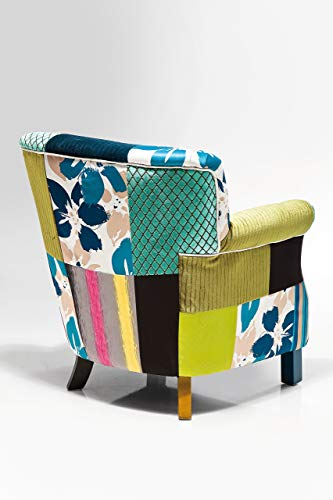 Kare Design Sessel Patchwork Stripes, Relaxsessel mit Armlehnen, Lounge TV Sessel im Retro-Look, Bunt (H/B/T) 76x66x74cm