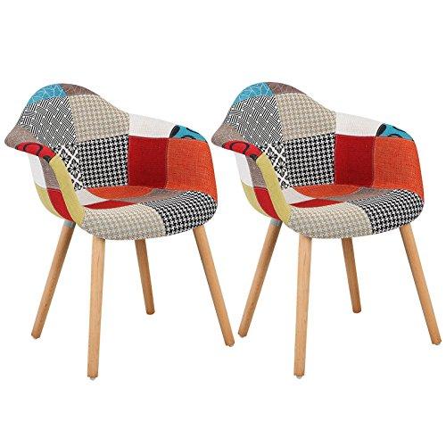 WOLTU® #981 Esszimmerstühle 2er Set Esszimmerstuhl mit Lehne Design Stuhl Küchenstuhl Holz Leinen