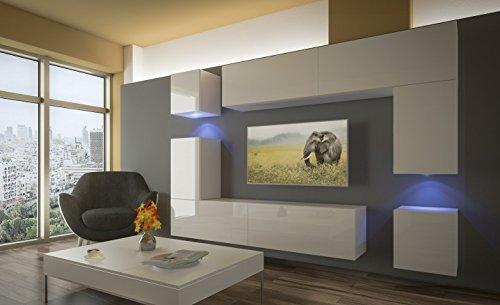 Home Direct PRAG N5 Modernes Wohnzimmer Wohnwände Wohnschränke Schrankwand Schwarz Weiß Hochglänz AN5-17BW-HG26-1A