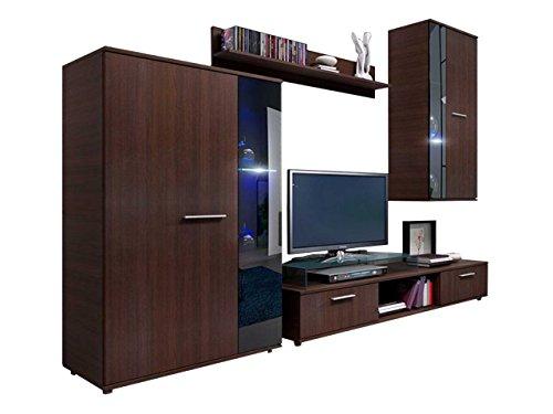 Wohnwand Salsa, Design Mediawand, Modernes Wohnzimmer Set, Anbauwand, Hängeschrank, Vitrine, TV Lowboard,