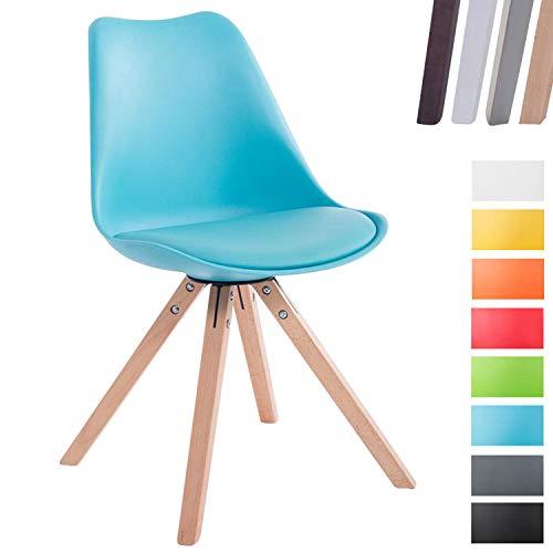 CLP Design Retro-Stuhl Toulouse Square mit Kunstlederbezug und Sitzpolster | Kunstoff-Lehnstuhl mit Holzgestell