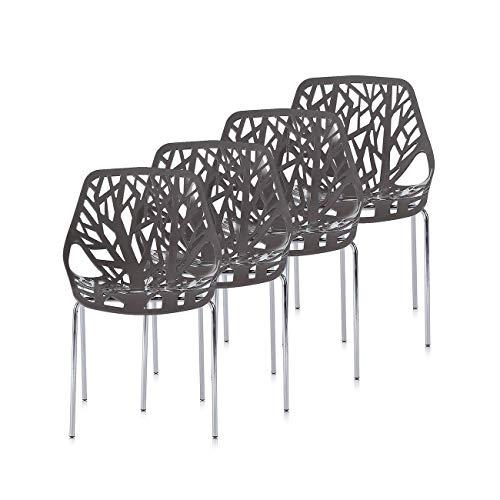 Makika Retro Stuhl Design Stuhl Esszimmerstühle Bürostuhl Wohnzimmerstühle Lounge Küchenstuhl Sitzgruppe 4er Set aus Kunststoff mit Rückenlehne CALUNA in verschiedenen Farben