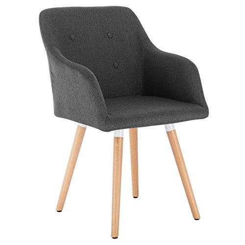 WOLTU Esszimmerstühle Küchenstuhl Wohnzimmerstuhl Arbeitsstuhl Leinen Massivholz #994