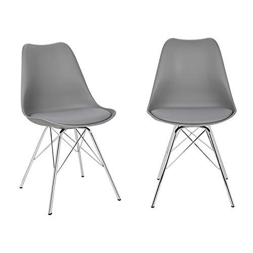 Elightry 2er Set Esszimmerstühle Küchenstühle Wohnzimmerstuhl Polsterstuhl Design Stuhl Kunstleder Gestell aus verchromtem Stahl